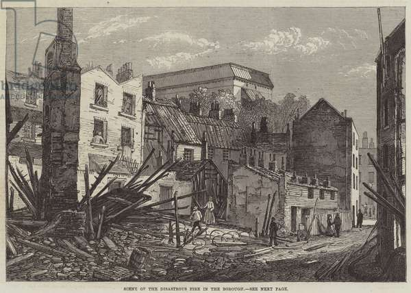 Scene of the Disastrous Fire in the Borough (engraving)