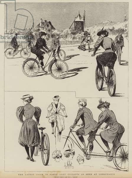 The latest craze in Paris, Lady Cyclists as seen at Longchamps (engraving)