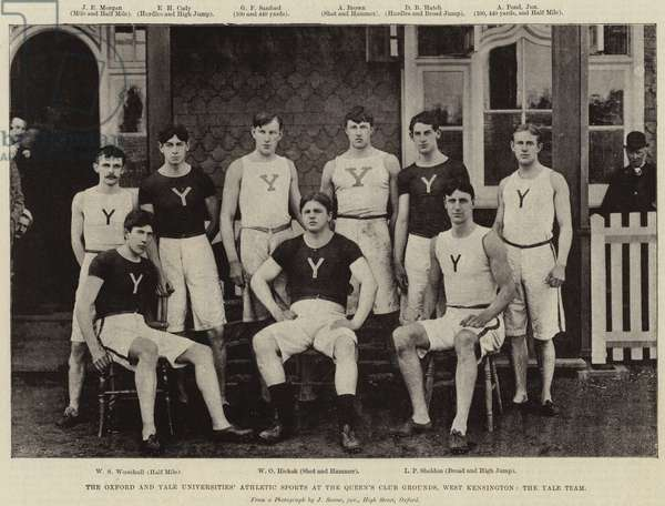 The Oxford and Yale Universities' Athletic Sports at the Queen's Club Grounds, West Kensington, the Yale Team (b/w photo)