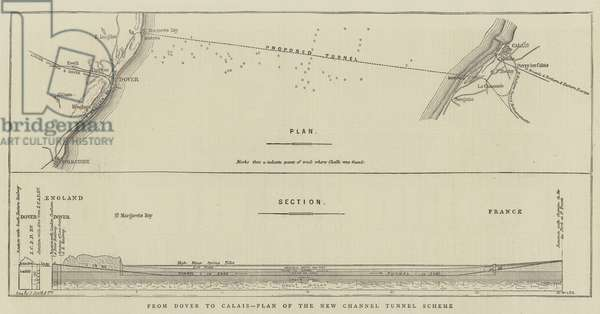 From Dover to Calais, Plan of the New Channel Tunnel Scheme (engraving)