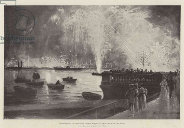 Illuminations and Firework Display before the Prince of Wales at Cowes (engraving)