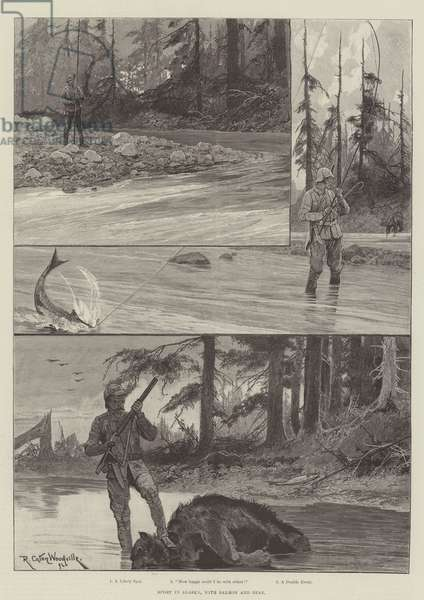 Sport in Alaska, with Salmon and Bear (engraving)