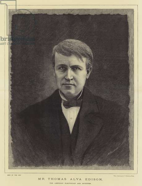 Mr Thomas Alva Edison, the American Electrician and Inventor (engraving)