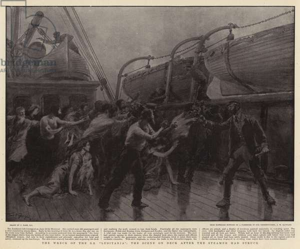"""The Wreck of the SS """"Lusitania"""", the Scene on Deck after the Steamer had struck (litho)"""