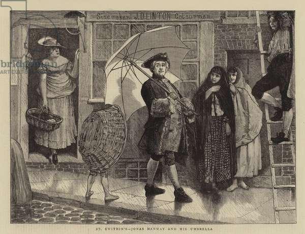 St Swithin's, Jonas Hanway and His Umbrella (engraving)
