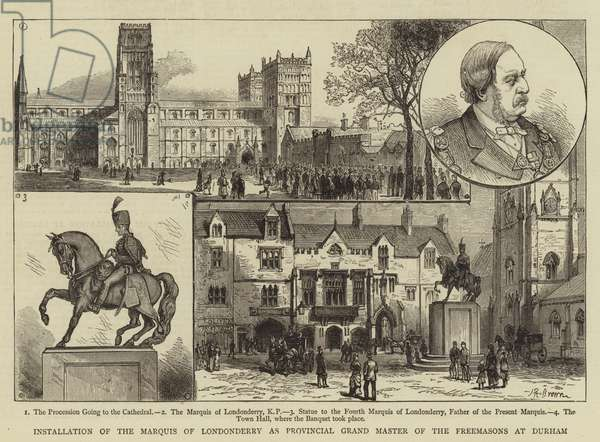 Installation of the Marquis of Londonderry as Provincial Grand Master of the Freemasons at Durham (engraving)