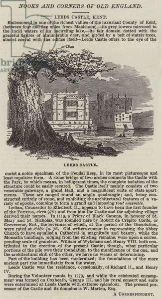 Leeds Castle, Kent (engraving)
