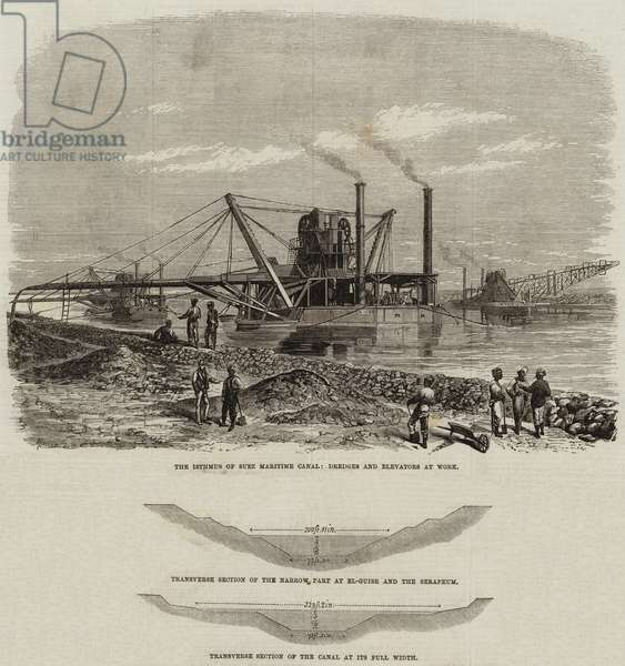 The Isthmus of Suez Maritime Canal (engraving)