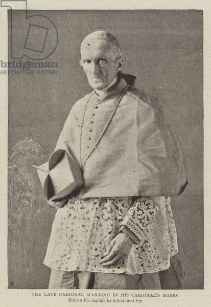 The Late Cardinal Manning in his Cardinal's Robes (b/w photo)