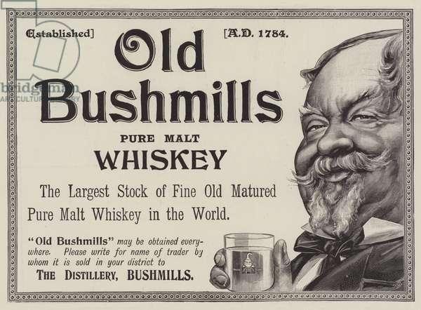 Advertisement, Old Bushmills Whiskey (engraving)