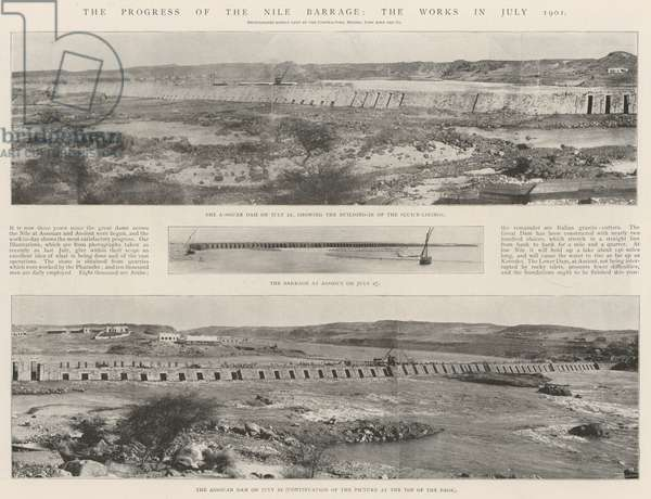 The Progress of the Nile Barrage, the Works in July 1901 (engraving)