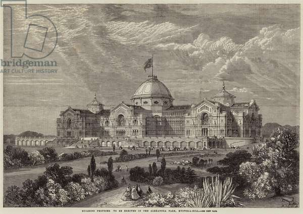 Building proposed to be erected in the Alexandra Park, Muswell-Hill (engraving)