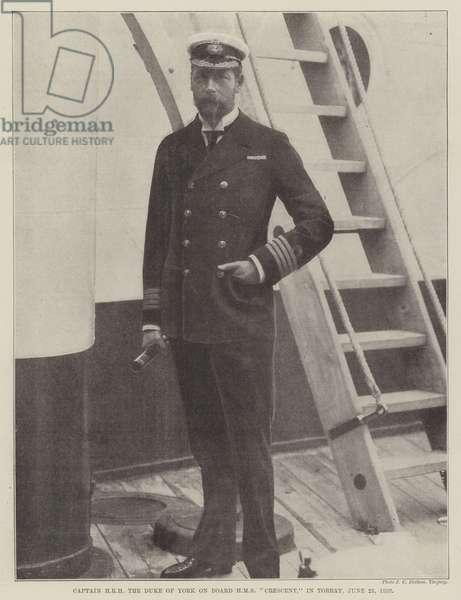 "Captain HRH the Duke of York on Board HMS ""Crescent,"" in Torbay, 25 June 1898 (b/w photo)"
