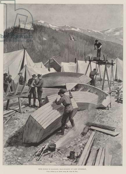 From Euston to Klondike, Boat-Building at Lake Linderman (litho)