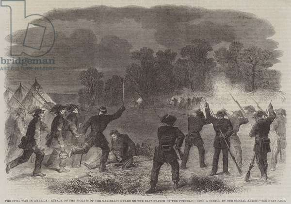 The Civil War in America, Attack on the Pickets of the Garibaldi Guard on the East Branch of the Potomac (engraving)