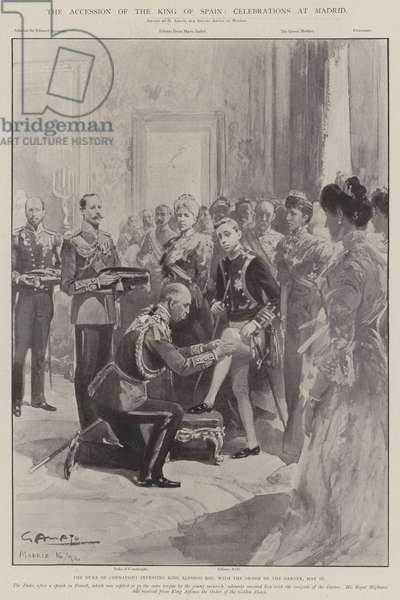 The Accession of the King of Spain, Celebrations at Madrid (litho)