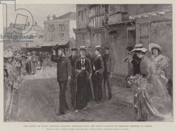The Prince of Wales, Princess Victoria, Princess Maud, and Prince Charles of Denmark shopping at Cowes (engraving)