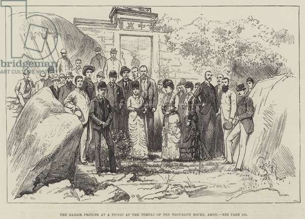 The Sailor Princes at a Picnic at the Temple of Ten Thousand Rocks, Amoy (engraving)