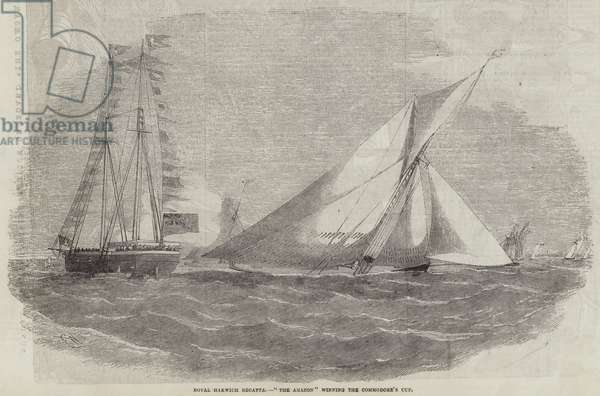 """Royal Harwich Regatta, """"The Amazon"""" winning the Commodore's Cup (engraving)"""