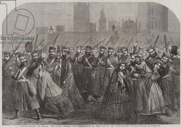Reinforcements for Canada, the Guards crossing Westminster-Bridge on their Way to the South-Western Railway Station (engraving)