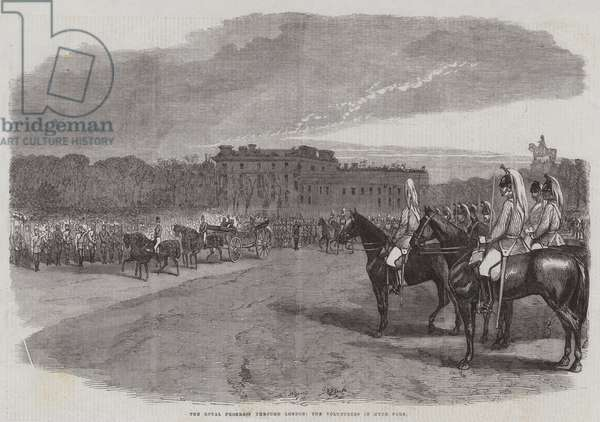 The Royal Progress through London, the Volunteers in Hyde Park (engraving)