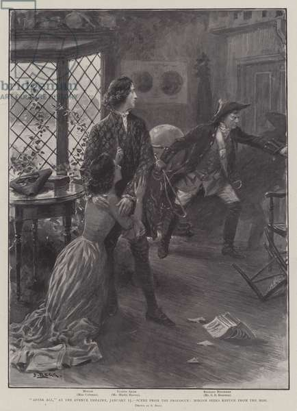 """""""After All,"""" at the Avenue Theatre, 15 January, Scene from the Prologue, Miriam seeks Refuge from the Mob (litho)"""