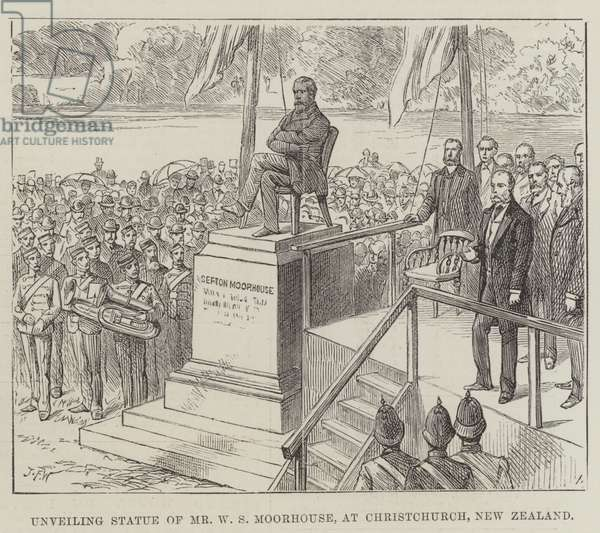 Unveiling Statue of Mr W S Moorhouse, at Christchurch, New Zealand (engraving)