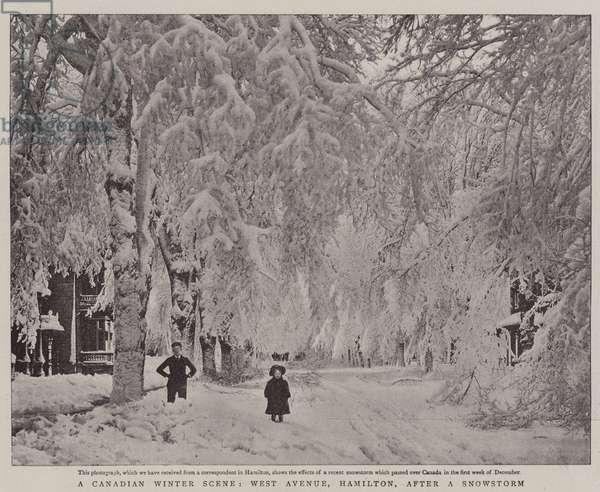 A Canadian Winter Scene, West Avenue, Hamilton, after a Snowstorm (b/w photo)