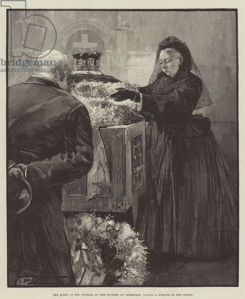 The Queen at the Funeral of the Duchess of Cambridge, laying a Wreath on the Coffin (engraving)