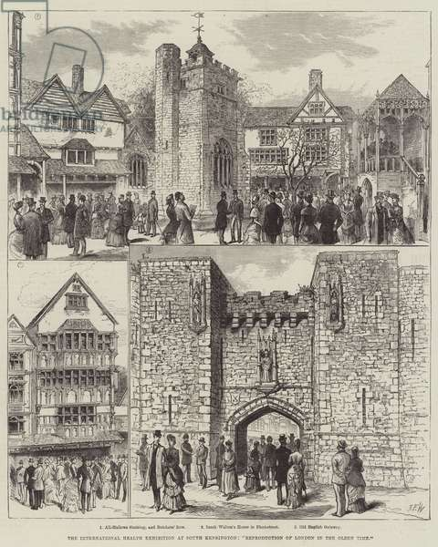 "The International Health Exhibition at South Kensington, ""Reproduction of London in the Olden Time"" (engraving)"