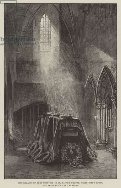 The Remains of Lord Tennyson in St Faith's Chapel, Westminster Abbey, the Night before the Funeral (engraving)
