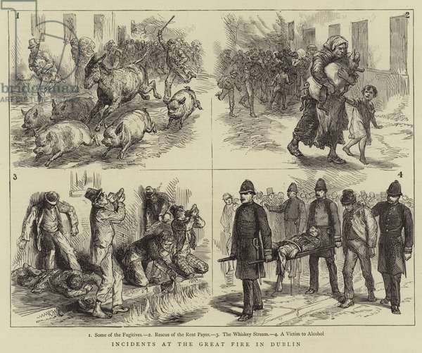 Incidents at the Great Fire in Dublin (engraving)