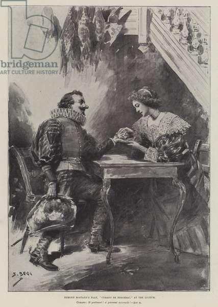 "Edmond Rostand's Play, ""Cyrano de Bergerac,"" at the Lyceum (litho)"