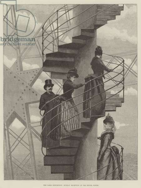 The Paris Exhibition, Sunday Reception at the Eiffel Tower (engraving)