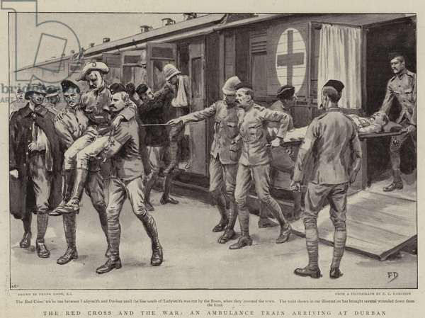 The Red Cross and the War, an Ambulance Train arriving at Durban (litho)