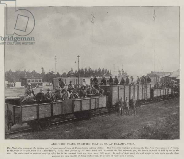Armoured Train, carrying Colt Guns, at Braamfontein (b/w photo)