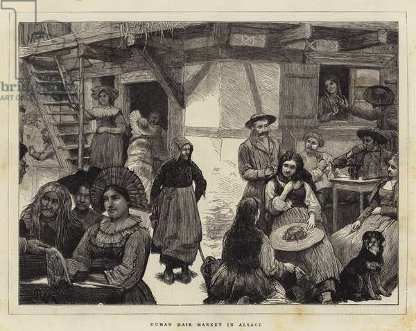 Human Hair Market in Alsace (engraving)