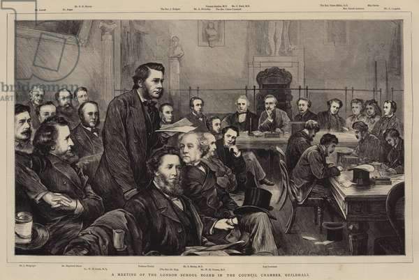A Meeting of the London School Board in the Council Chamber, Guildhall (engraving)