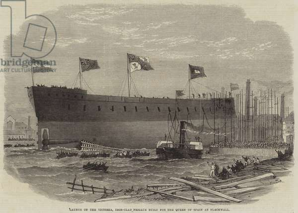 Launch of the Victoria, Iron-Clad Frigate built for the Queen of Spain at Blackwall (engraving)