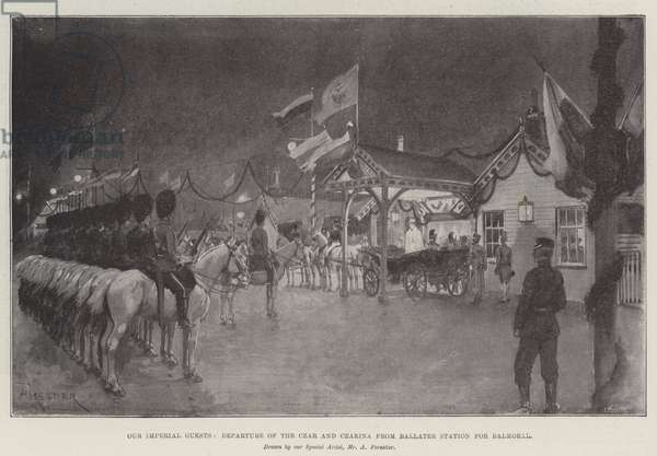 Our Imperial Guests, Departure of the Czar and Czarina from Ballater Station for Balmoral (litho)