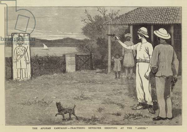 "The Afghan Campaign, practising Revolver Shooting at the ""Ameer"" (engraving)"
