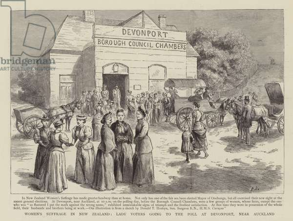 Women's Suffrage in New Zealand (engraving)