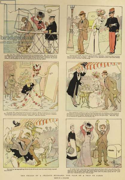 The Trials of a Jealous Husband, the Tale of a Trip to Paris (colour litho)