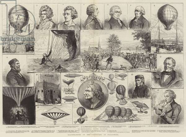 Illustrations of the Centenary of Ballooning (engraving)