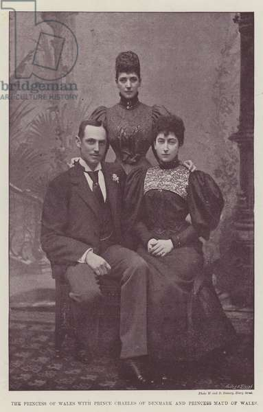 The Princess of Wales with Prince Charles of Denmark and Princess Maud of Wales (b/w photo)