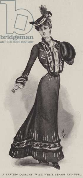 A Skating Costume, with White Straps and Fur (litho)