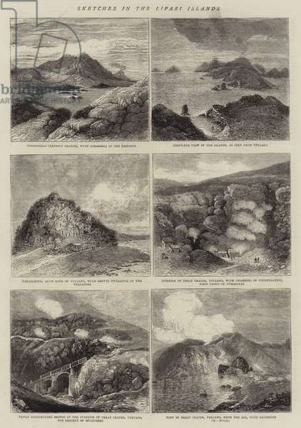 Sketches in the Lipari Islands (engraving)