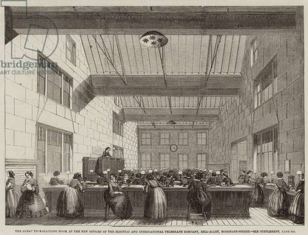 The Great Telegraphing Room at the New Offices of the Electric and International Telegraph Company, Bell-Alley, Moorgate-Street (engraving)