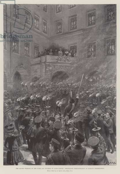 The Silver Wedding of the Duke and Duchess of Saxe-Coburg, Torchlight Demonstration at Schloss Friedenstein (litho)