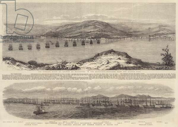 The Turkish Fleet in the Bosphorus; The Combined English and French Fleets in Besika Bay (engraving)